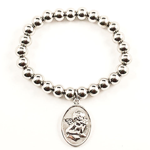Nice Religious Angel Metallic Charm & Ball Beads Stretch Steel Bracelet