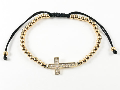 Elegant Casual Adjustable Gold Plated Cross Bead Steel Bracelet