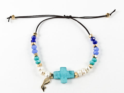 Unique Multi Color Bead With Turquoise Color Cross Charm Draw String Steel Bracelet