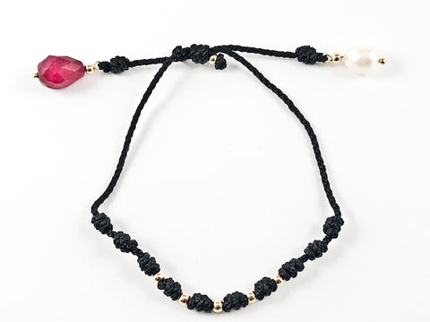 Unique Hand Braided Black String With Ruby & Pearl Stone Draw String Steel Bracelet