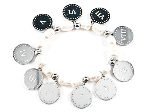 Beautiful Religious 10 Commandments Disc Charm Pearl Stretch Steel Bracelet
