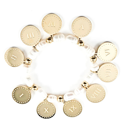 Nice Religious Gold Tone Ten Commandments Round Disc & Pearl Stretch Steel Bracelet