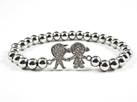 Beautiful Boy Girl CZ Charm Silver Ball Bead Stretch Steel Bracelet