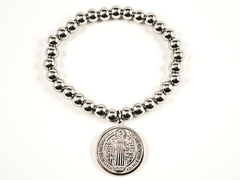 Religious Round Saint Benedict Double Side Charm Ball Beads Stretch Steel Bracelet