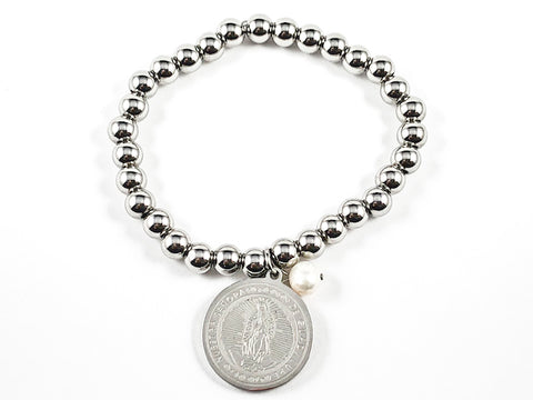 Religious Virgin Of Guadalupe Figure Charm With Dangle Pearl Ball Beads Steel Stretch Bracelet