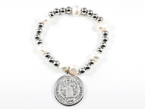 Religious Round Double Sided Saint Benedict/ San Benito Charm Ball Beads & Pearl Stretch Steel Bracelet