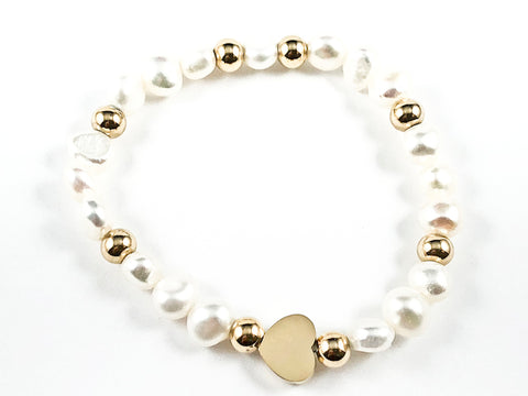 Cute Micro Heart Charm With Gold Ball Beads & Pearl Steel Stretch Bracelet