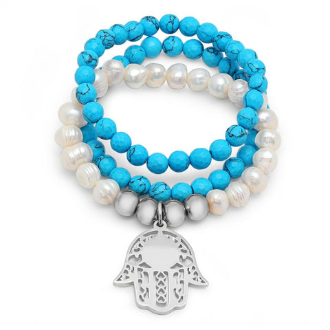 Beautiful 3 Piece Set Turquoise & Pearl Stones Dangling Hamsa hand Stretch Steel Bracelet