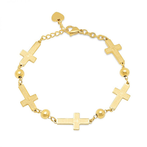 Religious Cross With Our Father Prayer Script Linked Gold Tone Steel Bracelet