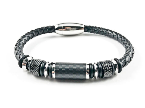 Nice Thick Rope Textured Dark Design Men's Magnetic Steel Bracelet