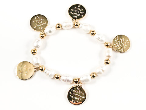 Nice Pearl & Round Religious 10 Commandments  Gold Tone Disc Steel Stretch Bracelet