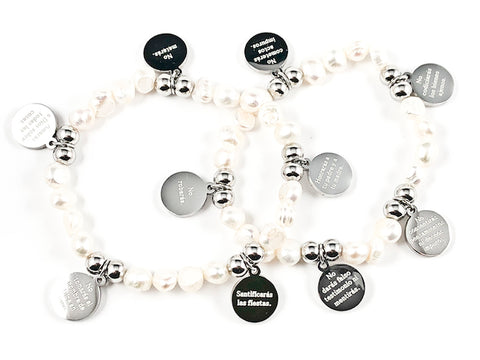 Beautiful Pearl & Silver Tone Round Disc 10 Commandment Discs 2 Piece Stretch Steel Bracelet Set