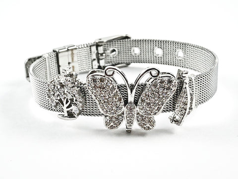 Beautiful Mesh Band With Mix CZ Design Charm Steel Bracelet
