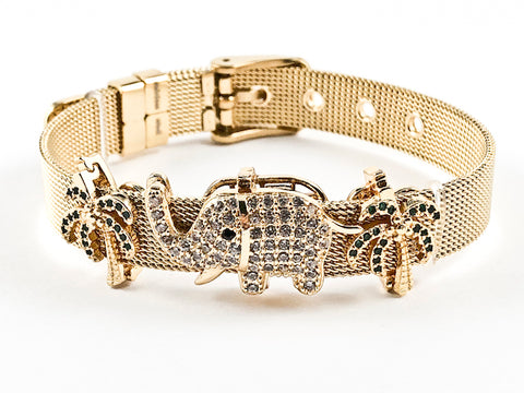 Beautiful Mesh Band With Mix CZ Design Charm Gold Tone Steel Bracelet
