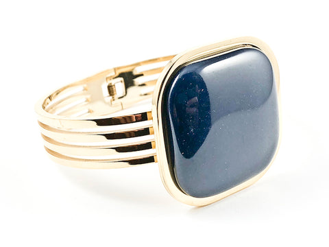 Nice Large Center Rectangle Shape Dark Blue Color Stone Gold Tone Steel Bracelet Bangle