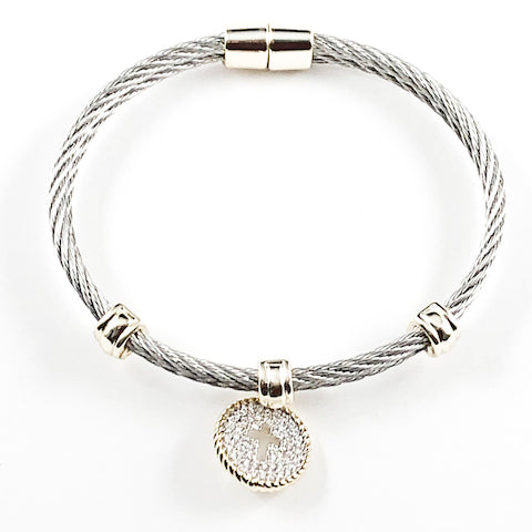Elegant Cute Dangling Micropave Cross 2 Tone Steel Bangle