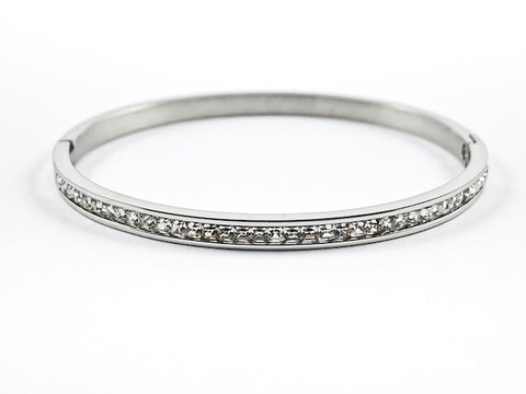 Simple One Row Unique Crystal Pattern Steel Bangle