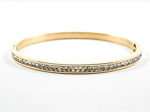 Simple One Row Unique Crystal Pattern Gold Tone Steel Bangle