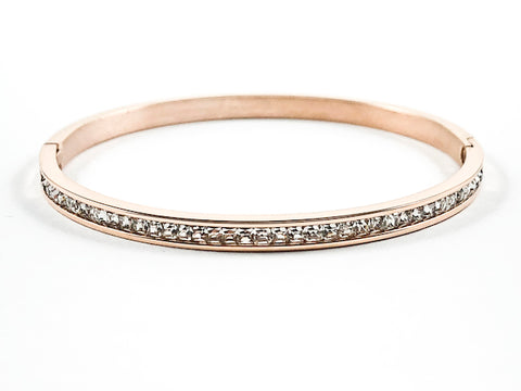 Simple One Row Unique Crystal Pattern Pink Gold Tone Steel Bangle
