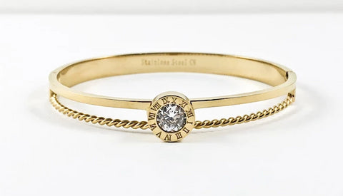 Unique Round Roman Numerals Center CZ Layered Gold Tone Steel Bangle