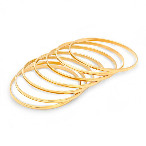 Metallic 7 Piece Set Gold Tone Steel Bracelet Bangles
