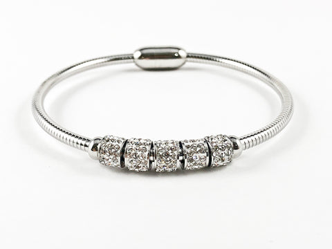 Nice Omega Magnetic Clasp With Crystal Bead Steel Bracelet