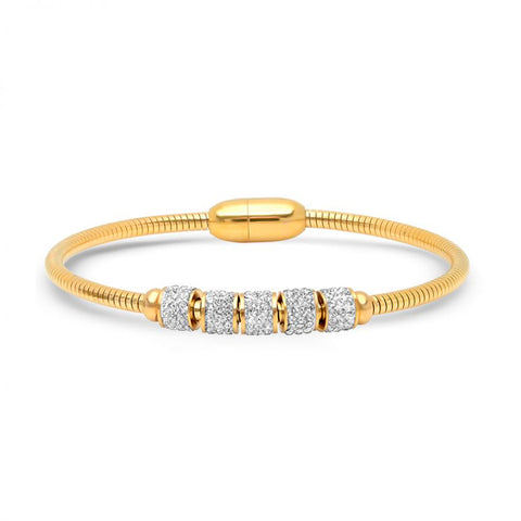 Nice Omega Magnetic Clasp With Crystal Bead Gold Tone Steel Bracelet