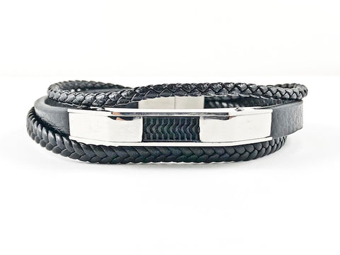 Nice Layered Multi String Black Leather & Rope Men's Steel Bracelet