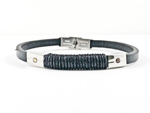 Nice Black Leather & Rope Design With Screw Accent Magnetic Men's Steel Bracelet