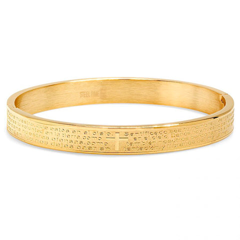 Religious Our Father Lord's Prayer Spanish Gold Tone Metallic Steel Bangle