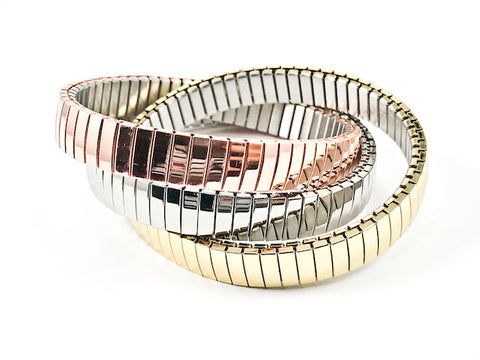 Modern Interlocked Tri Color Set Of 3 Stretch Steel Bracelet