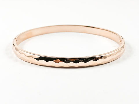 Modern Hammered Textured Style Pink Gold Tone Steel Bangle