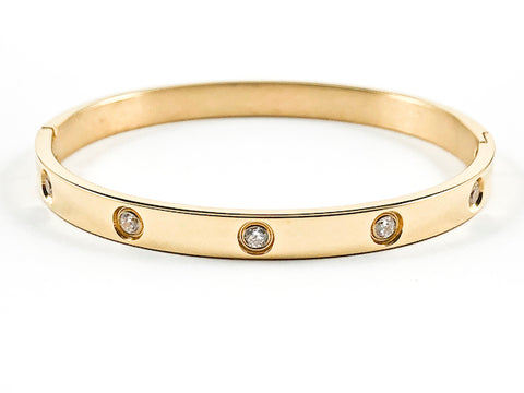 Simple Multi Single Frame CZ Gold Tone Steel Bangle
