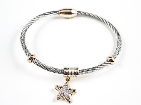 Beautiful Textured Cable Wire Style Magnetic Clasp Two Tone Dangle Star CZ Steel Bangle