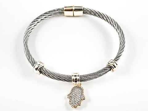 Beautiful Textured Cable Wire Style Magnetic Clasp Two Tone Dangle Hand CZ Steel Bangle