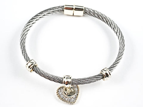 Beautiful Textured Cable Wire Style Magnetic Clasp Two Tone Dangle Heart CZ Steel Bangle