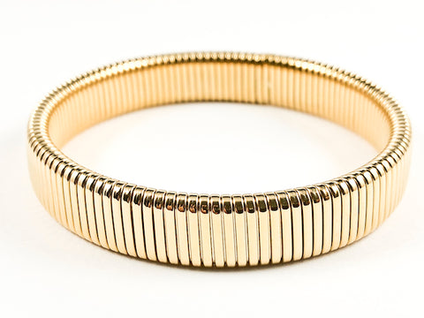 Beautiful Thick Textured Shiny Metallic Gold Tone Steel Bracelet Bangle