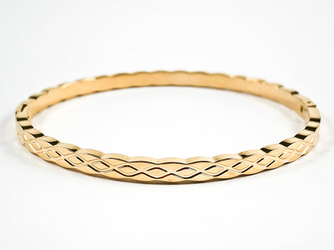 Elegant Braided Texture Design Thin Gold Tone Steel Bracelet Bangle