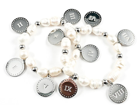 Elegant 2 Piece Set Double Sided Ten Commandment Disc With Pearl Stretch Steel Bracelet