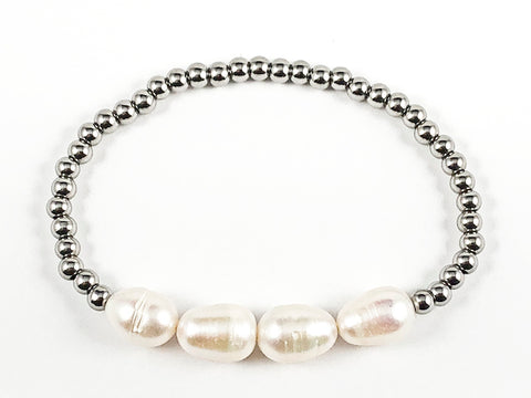 Nice 4 Piece Pearl With Silver Ball Bead Stretch Steel Bracelet