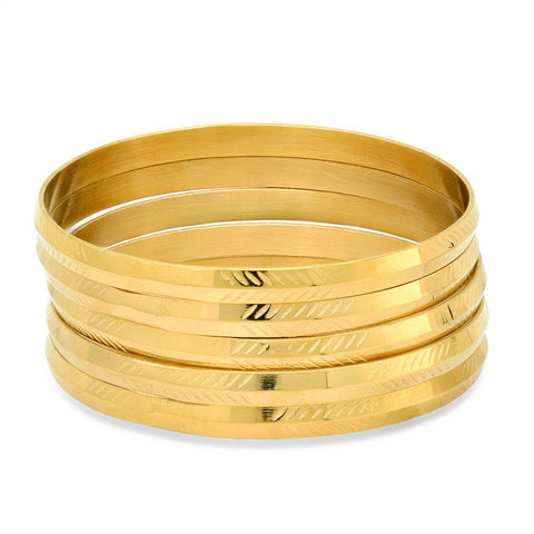Nice Textured 5 Piece Set Shiny Metallic Style Gold Tone Steel Bangles