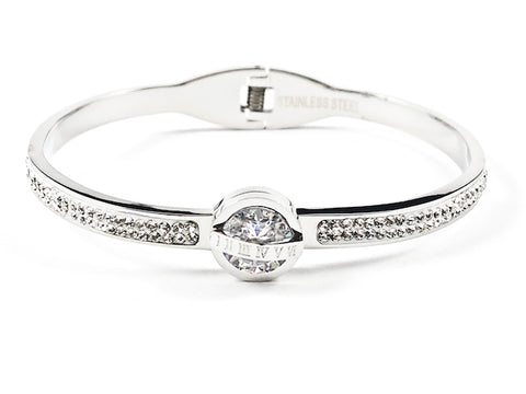 Beautiful Center CZ With Roman Numeral Cross Half Crystal Band Hinge Back Silver Tone Steel Bangle