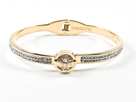 Beautiful Center CZ With Roman Numeral Cross Half Crystal Band Hinge Back Gold Tone Steel Bangle