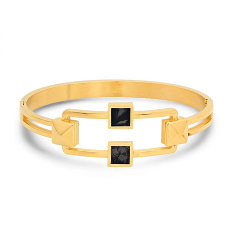 Unique Open Design With Black Mother Of Pearl Stones Studded Hinge Gold Tone Steel Bangles
