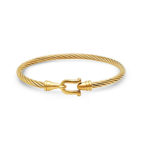 Modern Cable Wire With Hook Clasp Gold Tone Steel Bangle