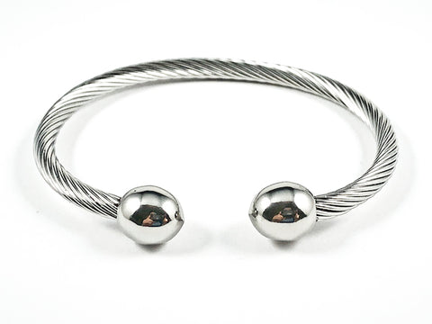 Nice Wire Textured Band Duo Shiny Metallic Ball End Points Steel Bangle
