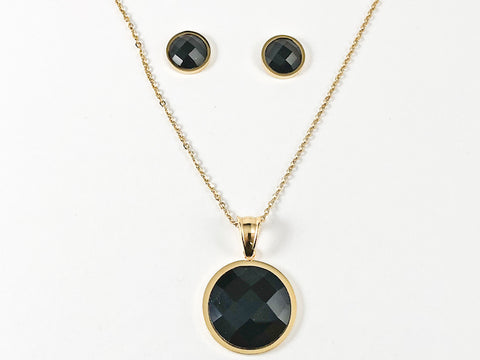 Classic Round Black Onyx CZ Gold Tone Necklace Earring Steel Set