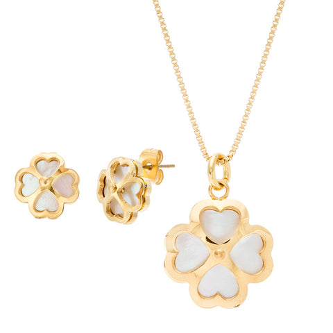 Modern Elegant Clover Frame MOP Earring Necklace Steel Set