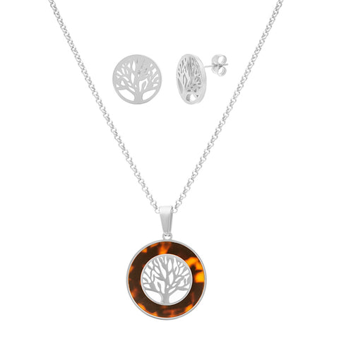 Modern Tree of Life Tortoise Shell Frame Earring Necklace Steel Set