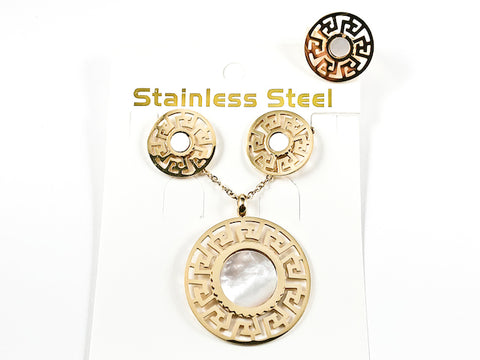 Unique 3 Item Set Round Shape Center Mother Of Pearl Greek Accents Gold Tone Steel Set